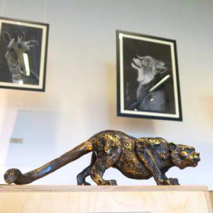 Kaisa Kangro art - bronze snow leopard. Lynx and giraffe paintings. 2016.