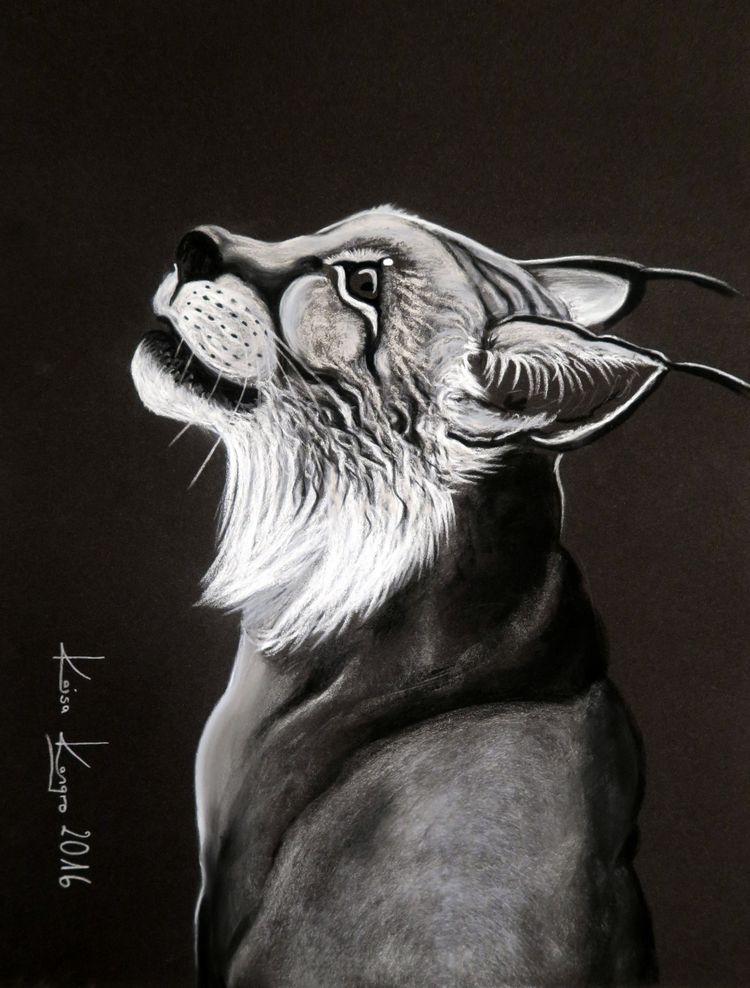Lynx by Kaisa Kangro. 2016. Pastel on sandpaper.